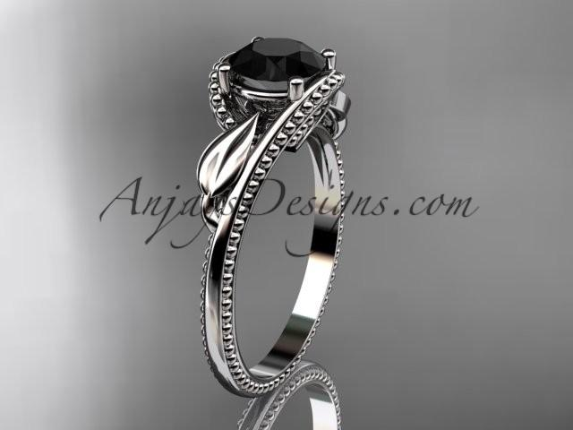 Wedding - Unique 14kt white gold engagement ring with a Black Diamond center stone ADLR322