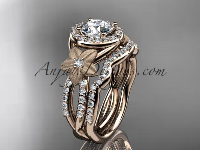 "Wedding - 14kt rose gold diamond floral wedding ring, engagement set with a ""Forever One"" Moissanite center stone ADLR127S"