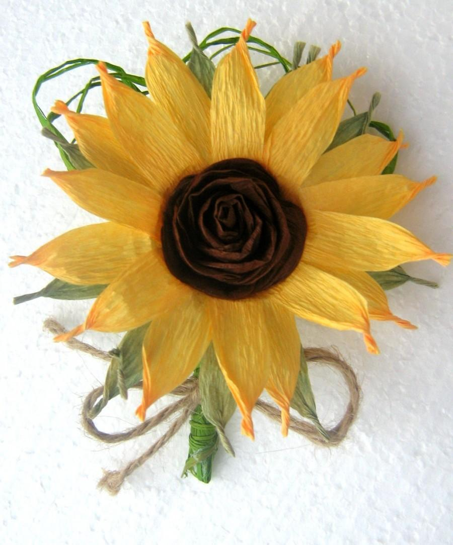 sunflower boutonniere crepe paper flowers wedding sunflower decor boutonnieres mens wedding boutonnieres baby shower ideas burlap rustic