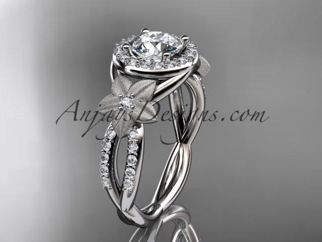 Свадьба - platinum diamond floral wedding ring, engagement ring ADLR127