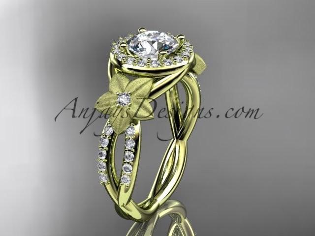 Wedding - 14kt yellow gold diamond floral wedding ring, engagement ring ADLR127