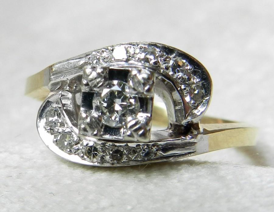 Свадьба - Art Deco Engagement Ring .40 Ct Diamond Engagement Ring Old European Cut Diamond Platinum and 14K Gold Vintage Engagement Ring