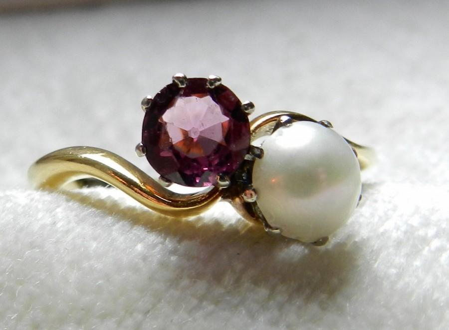 Hochzeit - Pearl Ring Old Mine Cut 1 Ct Rhodolite Garnet Pearl Engagement Ring 18K Toi Et Moi 18K Bypass Ring Victorian Engagement Ring June Birthday
