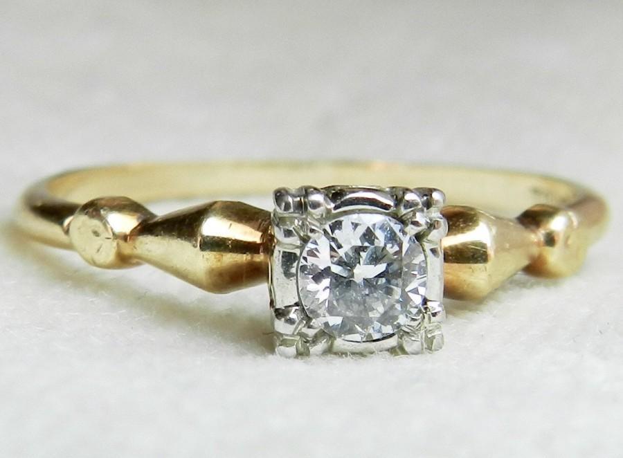 Свадьба - Engagement Ring .24 Ct Art Deco Orange Blossom Engagement Ring 14K Platinum Prongs Transitional Cut Diamond Antique White Gold Ring