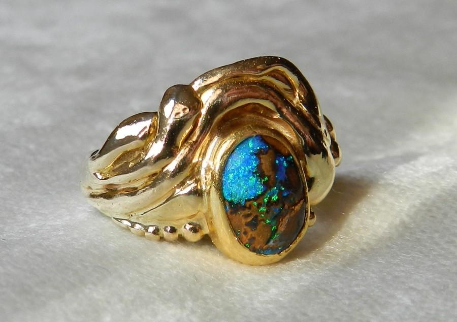 Black Opal Enement Ring | Boulder Opal Ring Signed Carey Engagement Ring Ocean Theamed 1 Ct