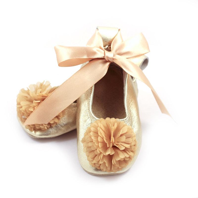 Wedding Gold Ballet Flats Flower Girl Shoes Baby Wedding Shoes