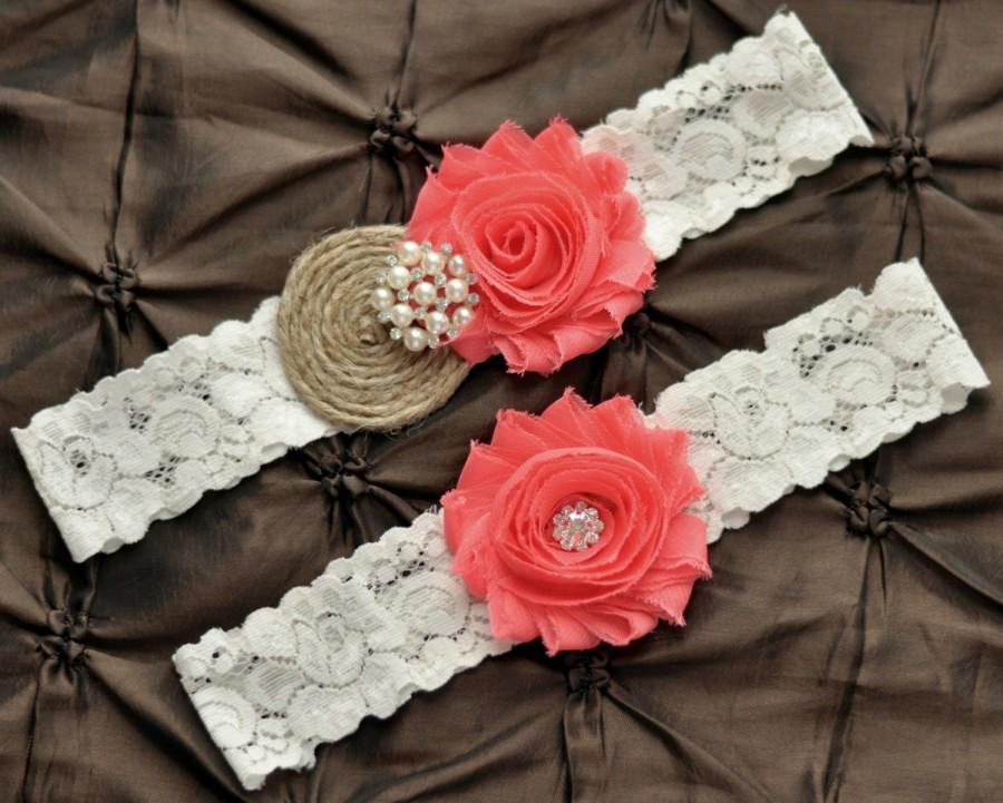 Свадьба - Burlap Wedding Garter Set, Bridal Garter Set - Rustic Garter, Country Shabby Chic, Coral Wedding Garter Belt, Burlap Garter, Coral Garter