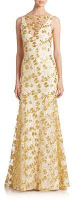 Wedding - Theia Embroidered Crepe Gown