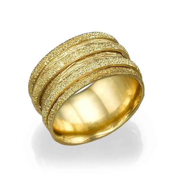 Glitter Wedding Ring 14k Yellow Gold For Woman Art Deco Band Texture Round