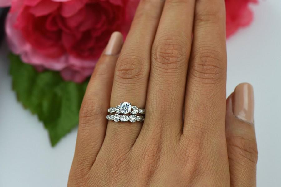 زفاف - 3/4 ctw Floral Wedding Set, Delicate Leaf Ring, Bridal Rings, Man Made Diamond Simulants, Engagement Ring, Art Deco Ring, Sterling Silver