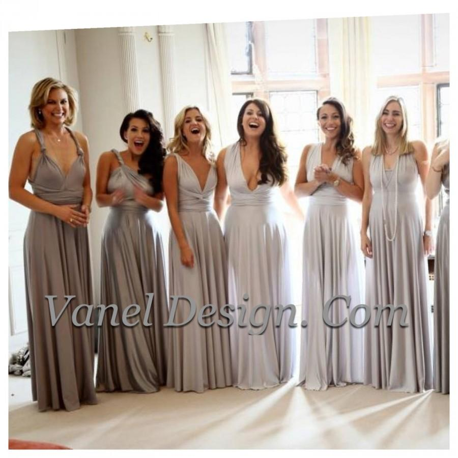 Mariage - Bridesmaid Dress, One Dress Endless Styles - INFINITY Bridesmaids Dress,  CUSTOM CONVERTIBLE Bridesmaids Dress, Grey Ombre effect