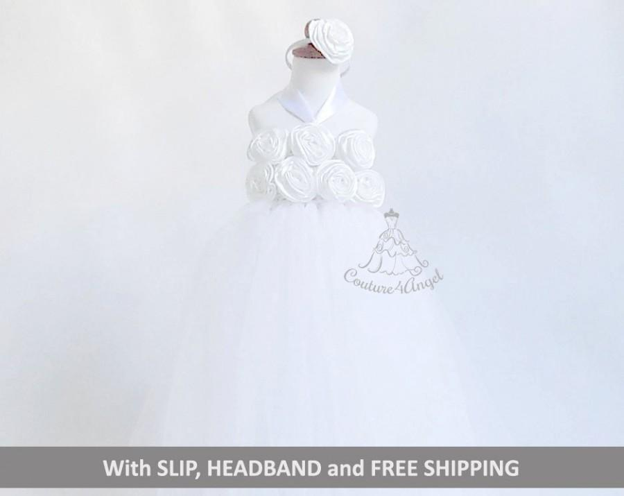 Boda - White flower girl dress, girl tutu dress, princess dress, party dress hand crochet top tulle dress, hand knit top tutu dress, Slip, Headband