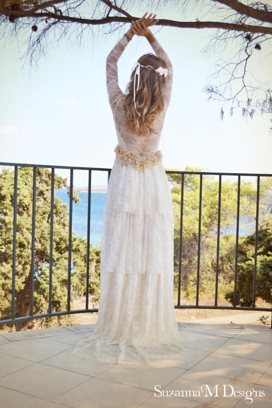 Wedding - Ivory Lace Bohemian Wedding Dress Long Bridal Wedding Gown - Handmade by SuzannaM Designs