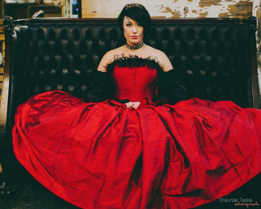 Red BallGown Wedding Dress - Gothic Cinderella- Fairytale Red Silk ...
