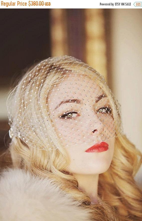 Mariage - 20% OFF EVENT Jade - Old Hollywood Crystal Birdcage Veil