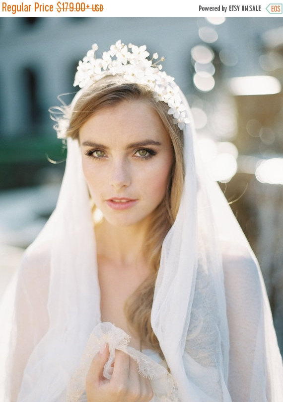 Mariage - 20% OFF EVENT Theodora Crown & English Silk Tulle Veil