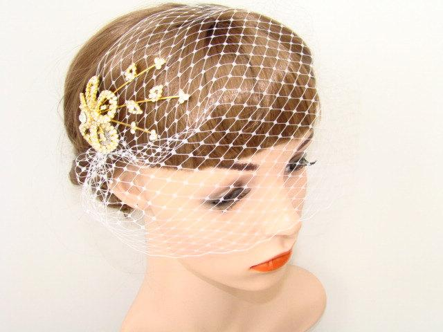 Свадьба - Ivory Wedding Veil - Birdcage Veil - Blusher Bird Cage Veil - Bridal Veil Comb - Gold Rhinestone Fascinator Hair Comb