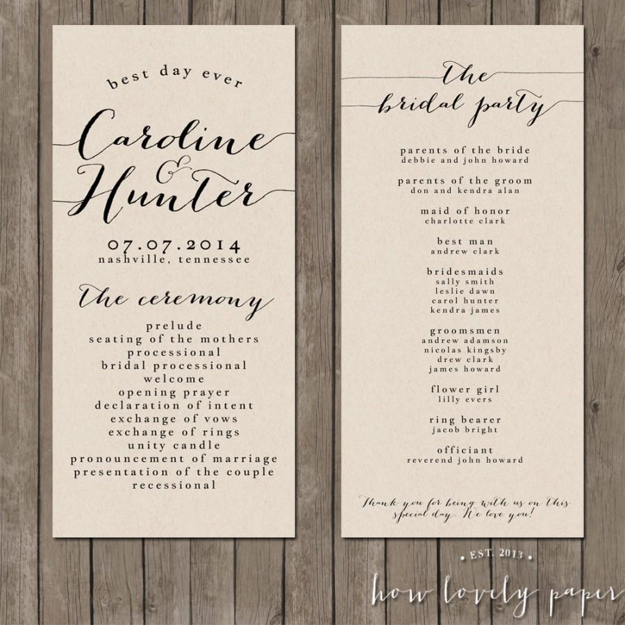 Printable Wedding Program The Bailey Collection 2418018