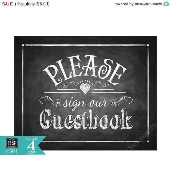 زفاف - 40% Off Sale Please sign our Guestbook Printable Wedding Chalkboard sign - download digital file - DIY - Rustic Collection - Wedding Signage