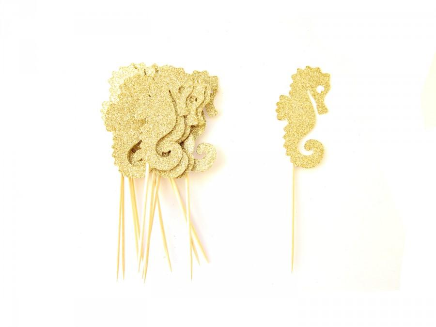 Mariage - 12 Glitter Sea Horse Cupcake Toppers - Tropical Cupcake Topper, Summer Cupcake Toppers, Summer Birthday, Sea Horse Party, Mermaid Party