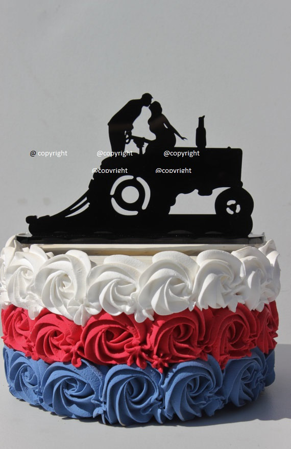 Country Western Redneck Farm Tractor Wedding Cake Topper Farmer
