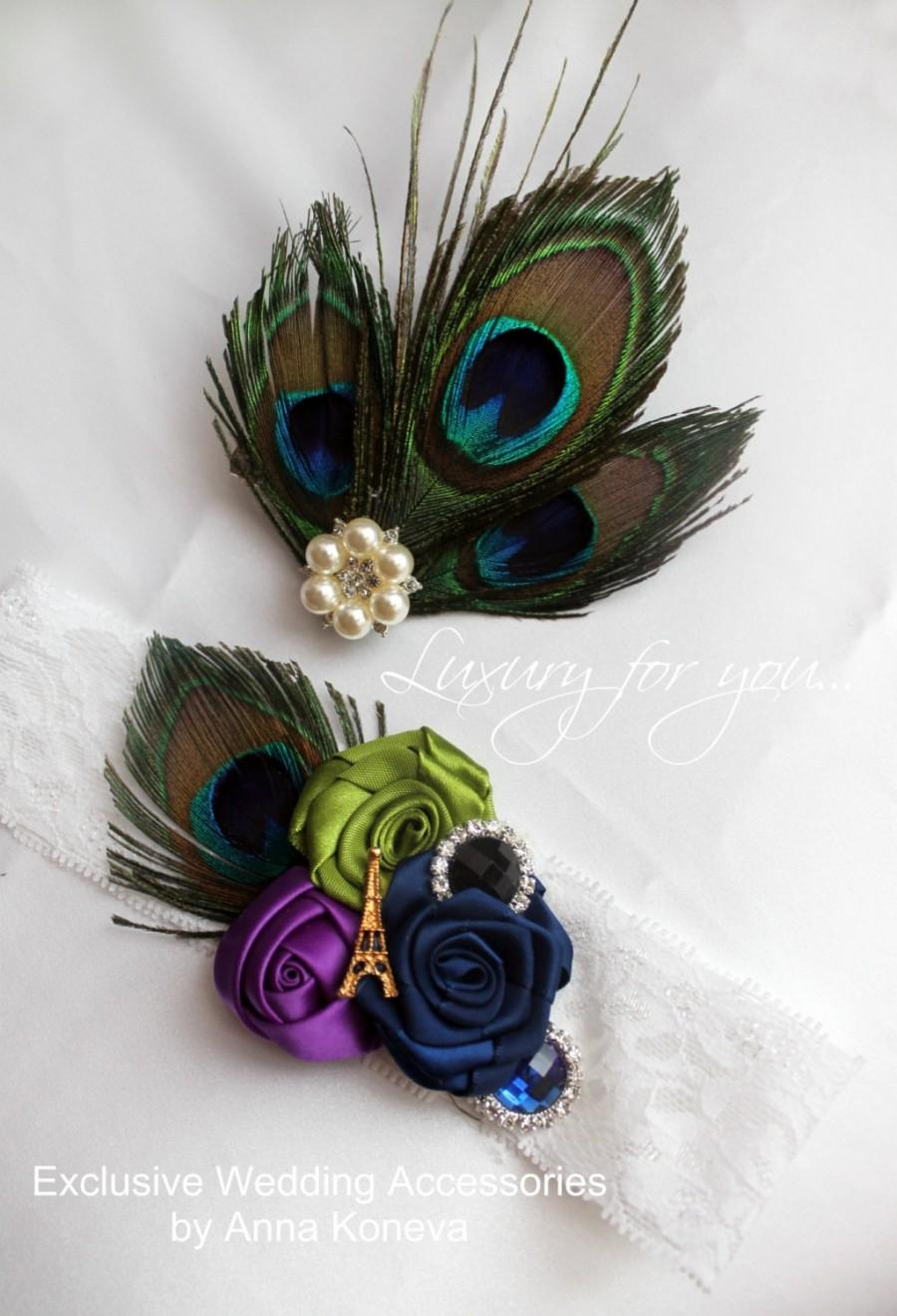 Hochzeit - Wedding garter peacock feather, peacock, garter bride, garter, white. Wedding accessories, jewelry, barrette, garters