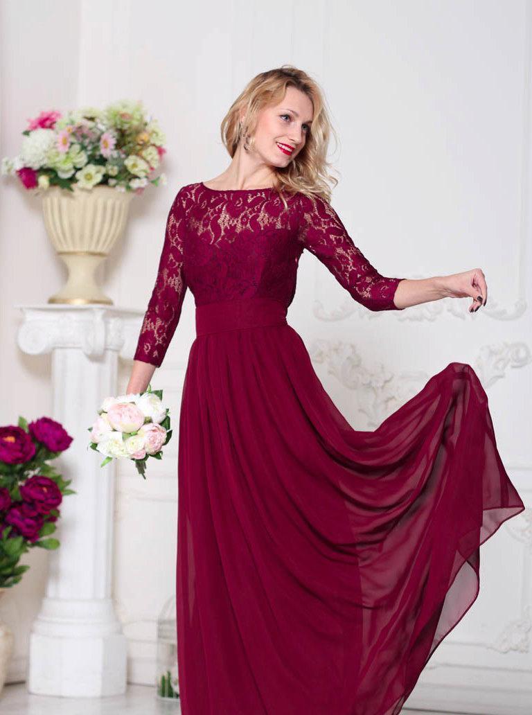 Wedding - Burgundy bridesmaid dress Marsala bridesmaid dress Wine bridesmaid dress Burgundy lace dress Marsala dress Burgundy dress Wine dress