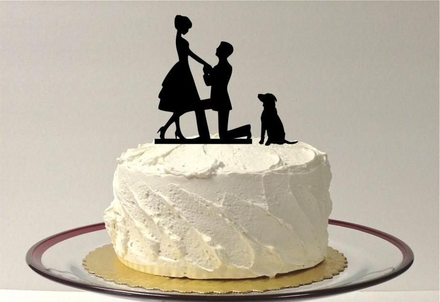 Wedding - WITH DOG Wedding Cake Topper Silhouette Wedding Cake Topper Bride + Groom + Dog Pet Family of 3 Cake Topper Bride Groom Dog Cake Topper
