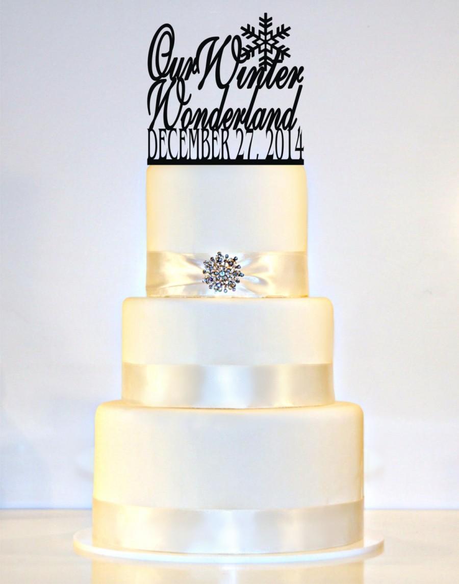Winter Wedding Cake Topper - Winter Wonderland, Snowflake, Wedding ...