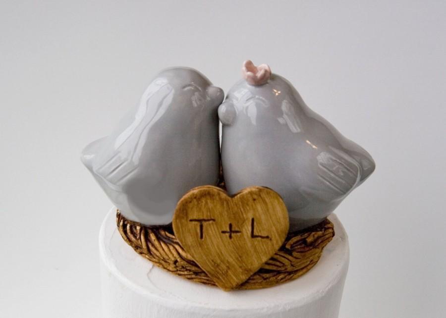 Mariage - Pale Gray Love Bird Cake Topper