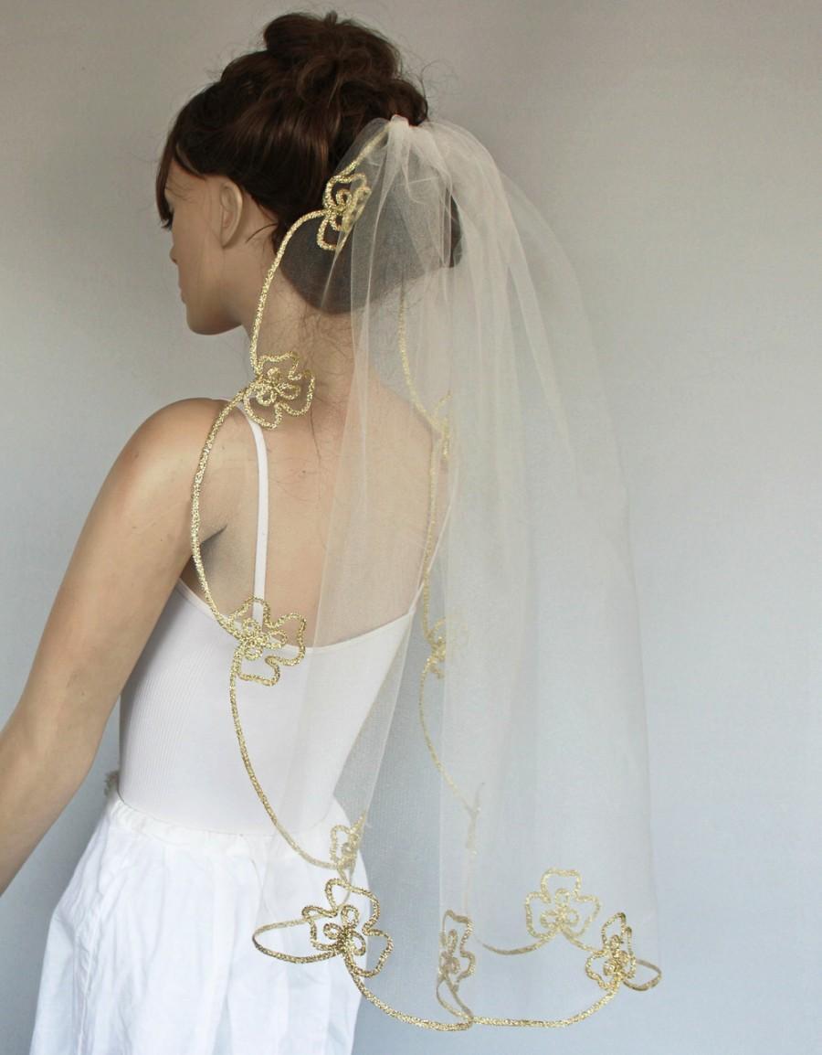 Свадьба - Hips Length Veil, Gold Embroidered Trim, Bridal Hair Tulle Blusher Modern Wedding Handmade
