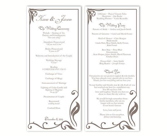 Hochzeit - Wedding Program Template DIY Editable Text Word File Instant Download Program Gray Program Coffee Program Printable Wedding Program 4x9.25