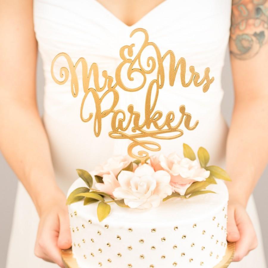 Свадьба - Gold Mr Mrs Cake Topper - Custom Cake Topper for Wedding Cake - Last Name - Daydream Collection