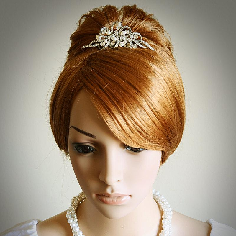 Mariage - AUDREY, Vintage Style Wedding Bridal Tiara, Victorian Wedding Hair Accessories, Swarovski Rhinestone and Pearl Bridal Wedding Tiara / Crown