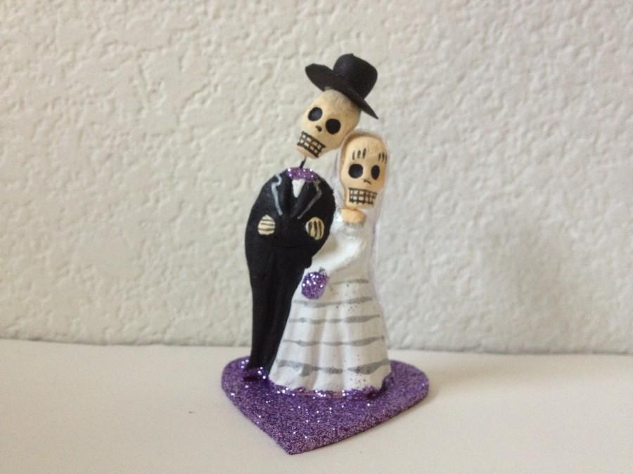 Light Purple Till Do Us Part Skeleton Bride And Groom Cake Topper Wedding Engagment Party Day Of The Dead
