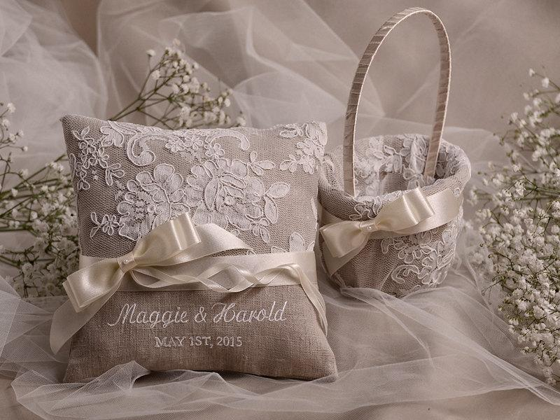 Mariage - Flower Girl Basket & Ring Bearer Pillow Set, Shabby Chic Natural Linen, Embriodery Names