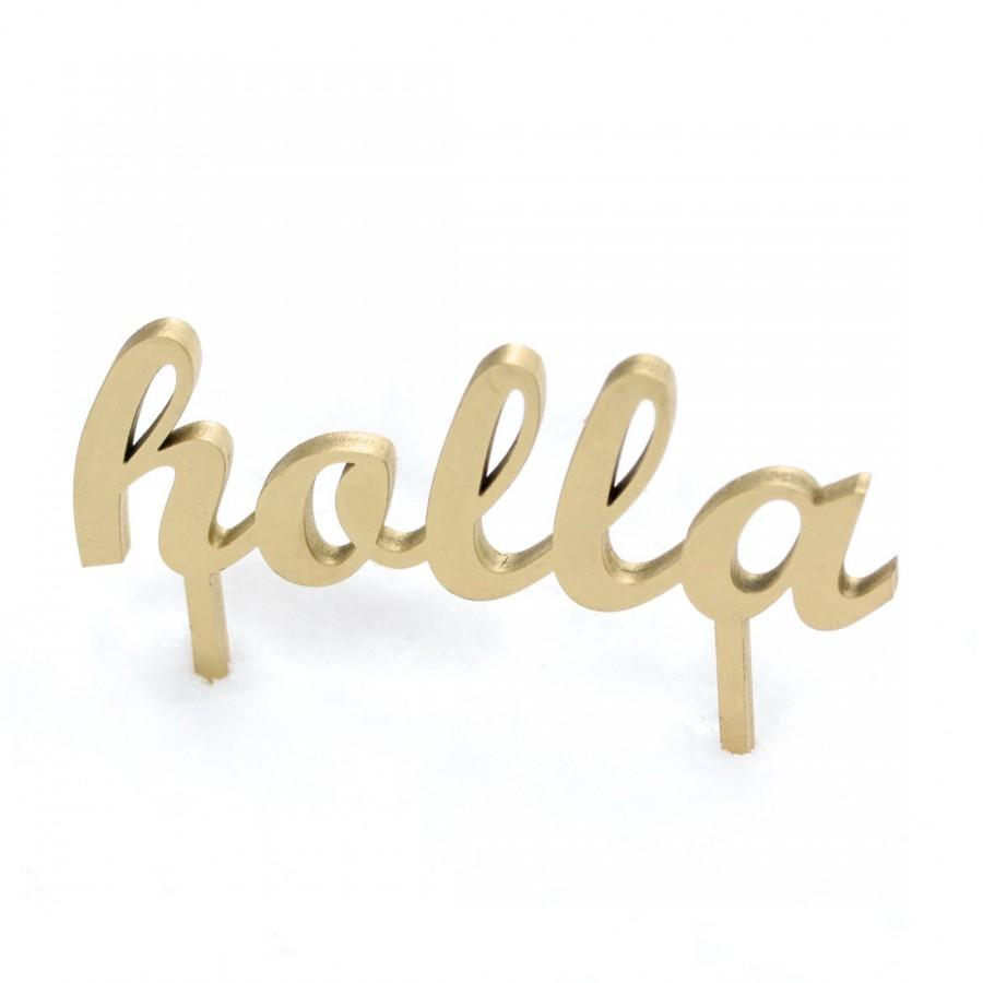 Свадьба - holla wedding or party cake topper in white, gold, black and maple