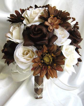 """Свадьба - Free Shipping Wedding bouquet Bridal Silk flowers 17 pc package CREAM BROWN CHOCOLATE Daisy bouquets centerpieces """" Roses and Dreams"""""""