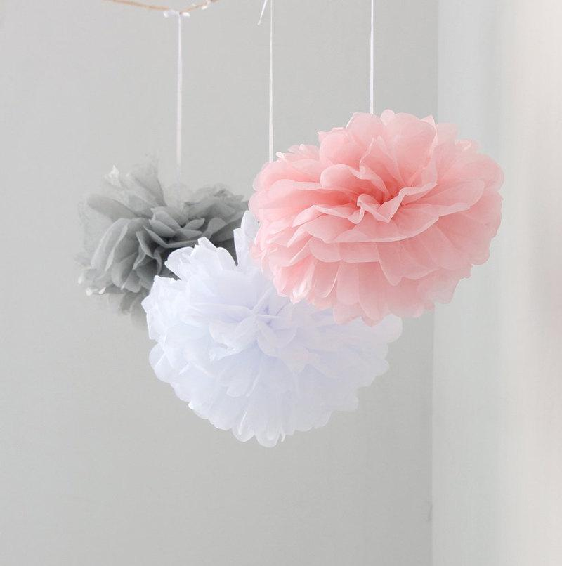 12pcs Mixed Pink Gray White Tissue Paper Flower Pom Poms Wedding