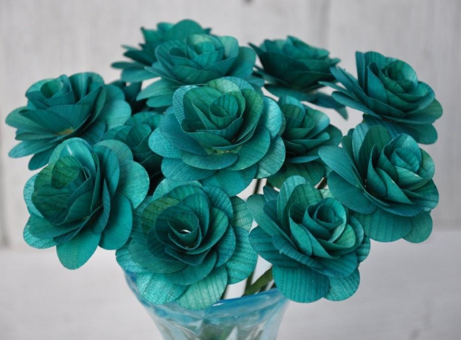 Свадьба - Teal Wooden Roses  - Two Dozens  with Wire Stem - 2 inches diameter