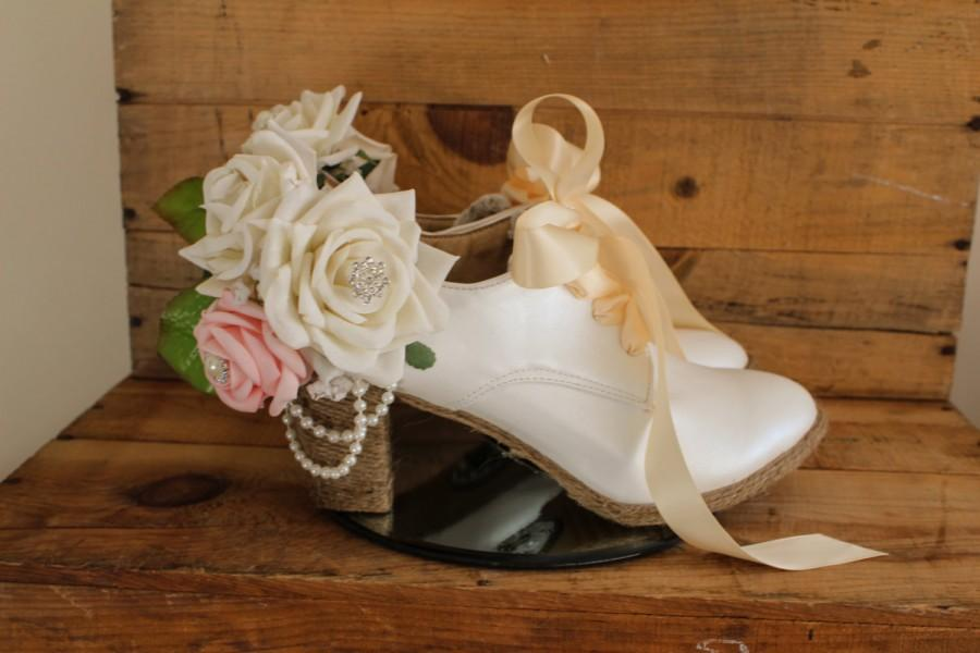 """Hochzeit - Wedding shoes unique satin lace up 3 """" heel women's bridal shoes"""