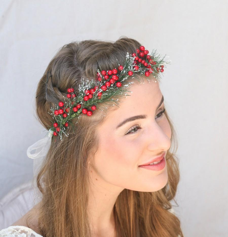 Holiday Wedding Red Berry And Pine Woodland Wedding Wreath Floral Crown Christmas Wedding