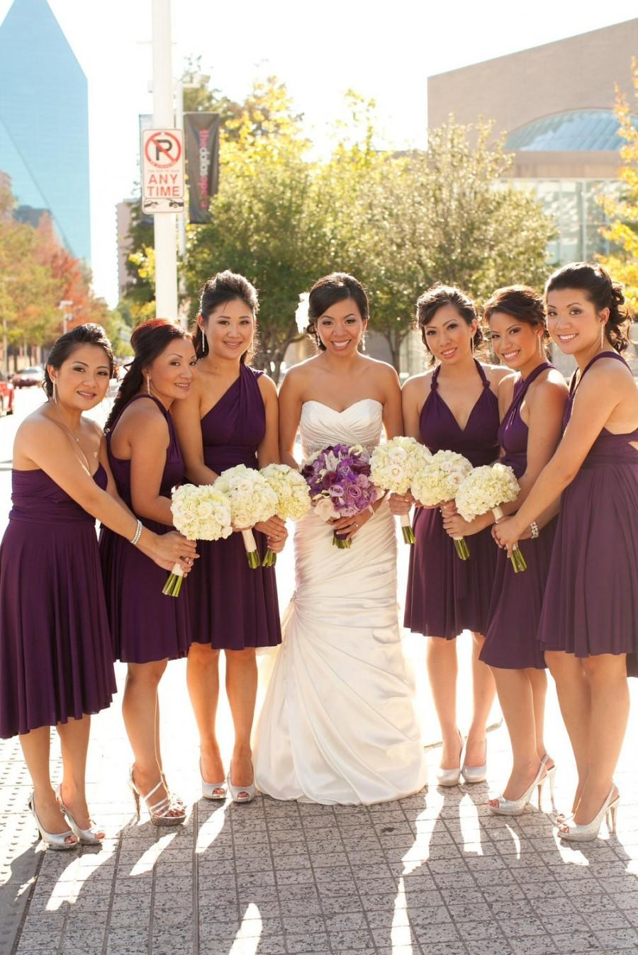 Düğün - Purple Bridesmaid Dress - Convertible Infinity Wrap