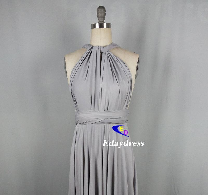 Wedding - Bridesmaid Dress Infinity Dress Silver Floor Length Wrap Convertible Dress Wedding Dress