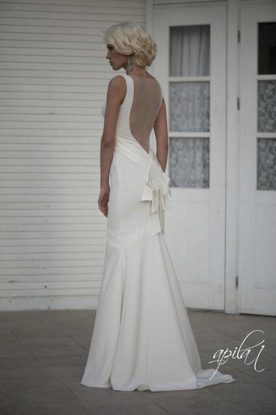 Hochzeit - Long Wedding Dress with Train, Bridal Gown with Open Back, Crepe Wedding Gown L14, Romantic wedding gown, Classic bridal dress, Custom dress