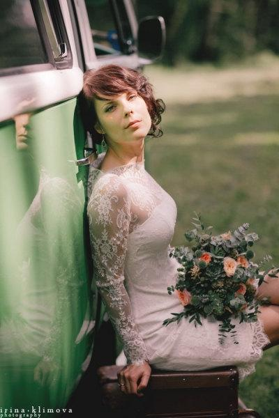 Wedding - Fitted Style Short Wedding Dress with Long Lace Sleeves M38, Romantic wedding gown, Classic bridal dress, Custom dress, Rustic gown, Winter
