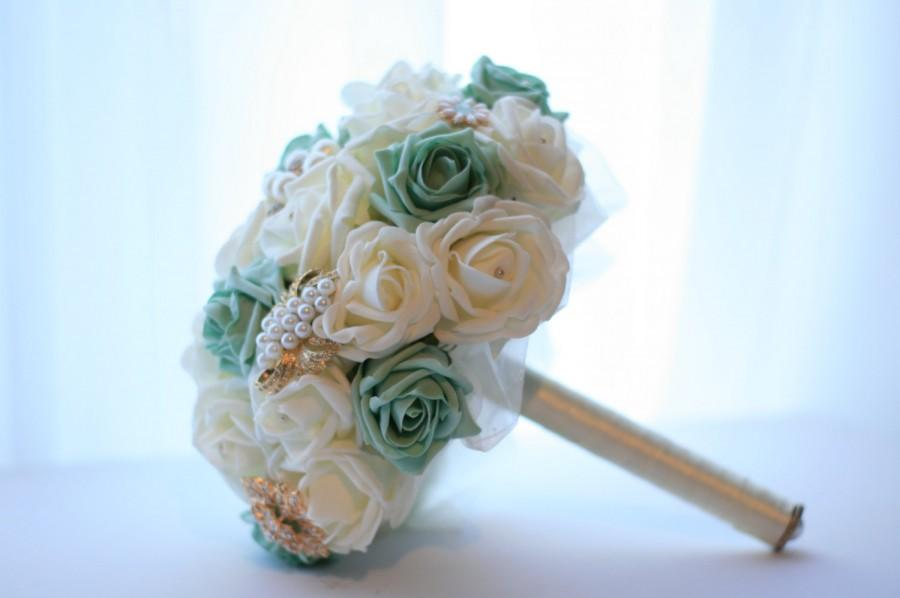 Wedding Bouquet Shabby Chic Brooch And Flower Bouquet In Mint Green ...