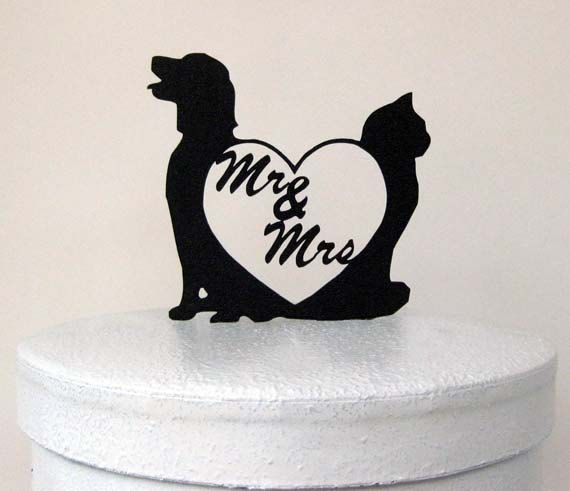 Свадьба - Wedding Cake Topper - Dog and Cat with Mr and Mrs