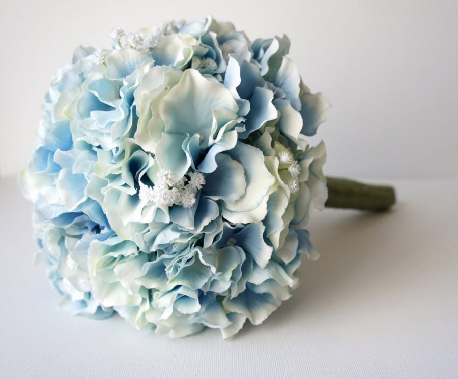 Blue Hydrangea Bouquet Silk Wedding Flowers Bridesmaid Rustic Vintage Bridal Bride Bridesmade