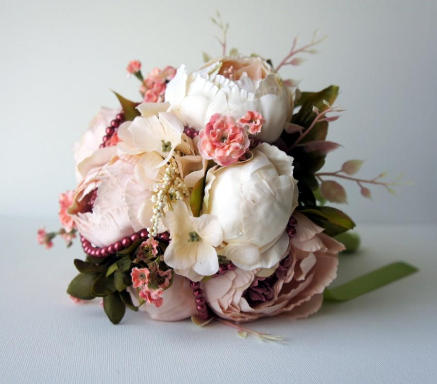 Blush Peony Bridal Bouquet, Silk Wedding Flowers, Vintage Wedding ...